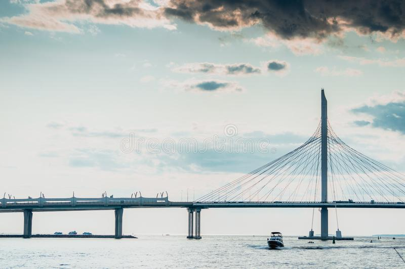 Western Speed Diameter Bridge in Saint Petersburg with Gulf of Finland panorama. And dramatic clouds stock photos