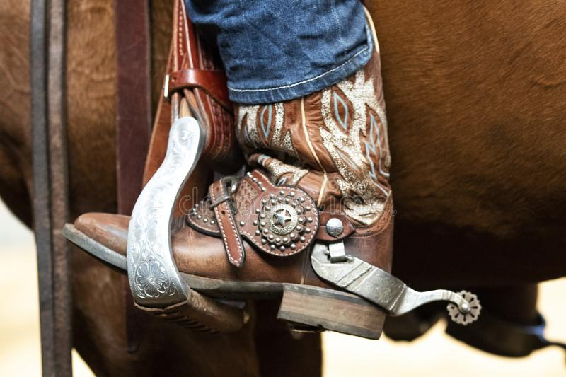 Western spur and stirrup with a lot of bling bling stock images