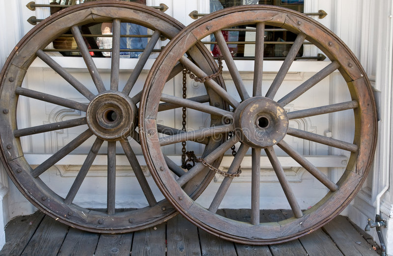 Western stage coach wheels royalty free stock photos