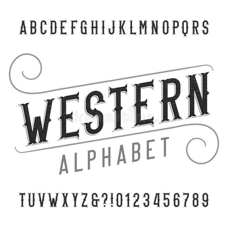 Western style retro alphabet font. Distressed serif type letters, numbers and symbols. Vintage vector typography for labels, headlines, posters etc vector illustration