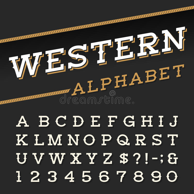 Western style retro alphabet vector font. Serif type letters, numbers and symbols on a dark background. Vintage vector typography for labels, headlines royalty free illustration
