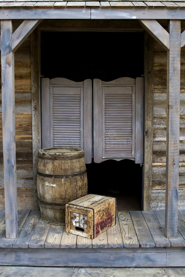 Western Style Saloon. With Barrel and Box stock photo