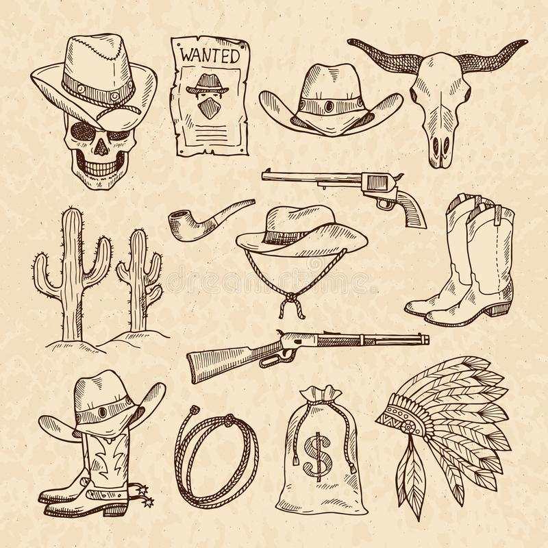 Western symbols. Cowboy, guns, saloon and other wild west pictures set. Vector hand drawn pictures stock illustration