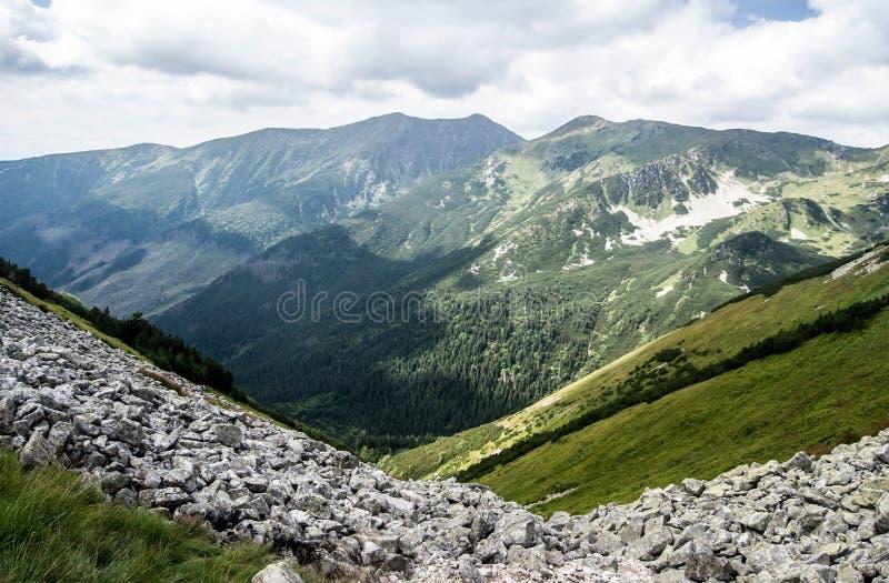 Zapadne Tatry mountains from hiking trail above Jamnicka dolina valley in Slovakia stock images