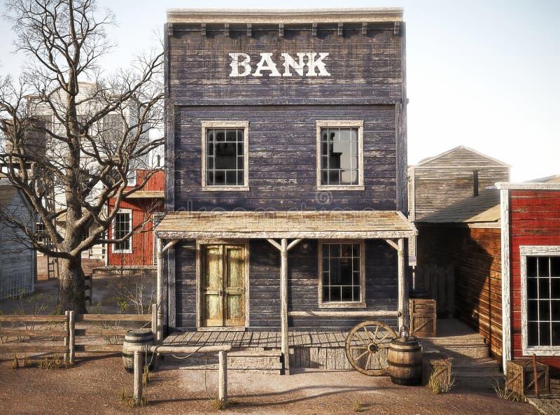 Western town rustic bank. 3d rendering royalty free illustration