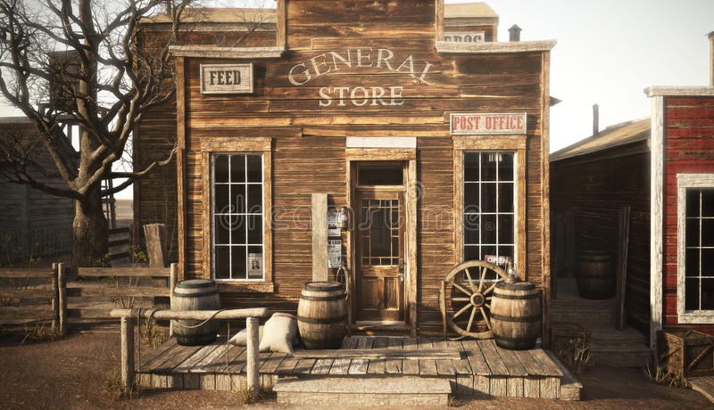 Western town rustic general store. 3d rendering vector illustration