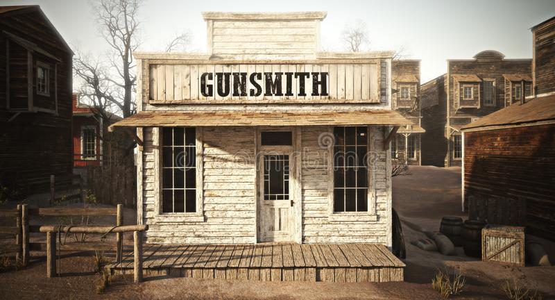 Western town rustic gunsmith weapons and ammunition`s supply store. 3d rendering . Part of a Western town series royalty free illustration