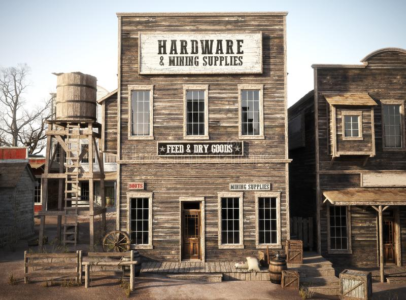 Western town rustic Hardware and mining supply store. 3d rendering . Part of a Western town series royalty free illustration