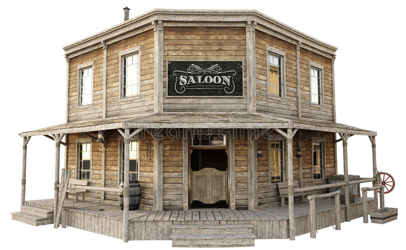 Western town saloon on an isolated white background. royalty free illustration
