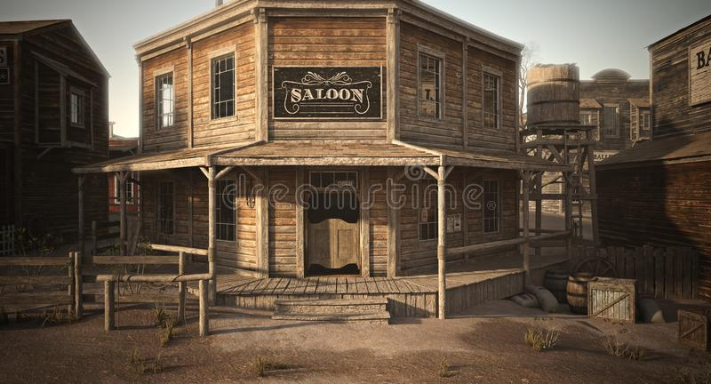 Western town saloon with various businesses . royalty free illustration