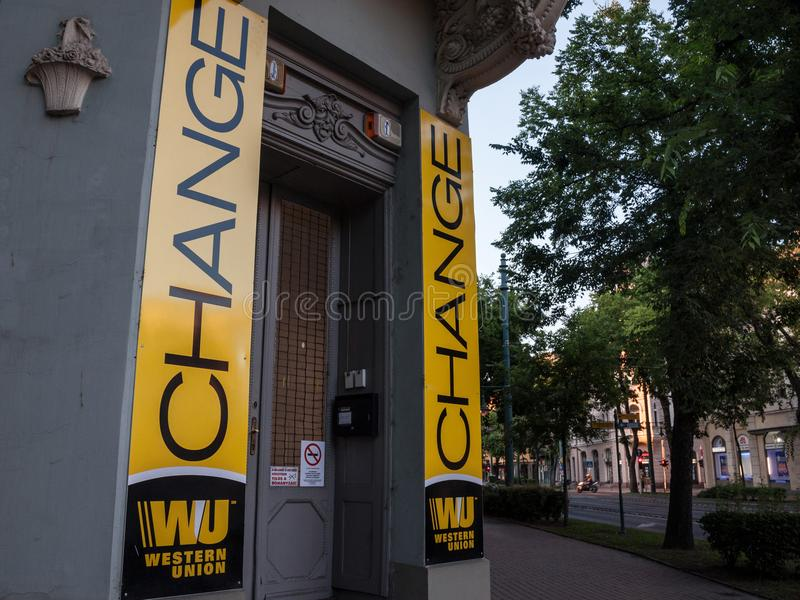 Western Union logo on their main exchange office for Szeged. The Western Union Company is an American financial services company royalty free stock images