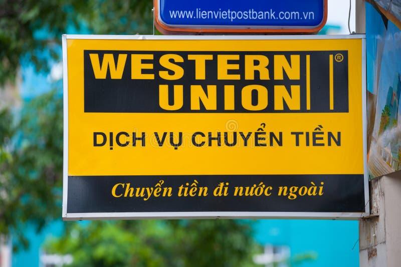 Western Union signboard in Saigon royalty free stock image