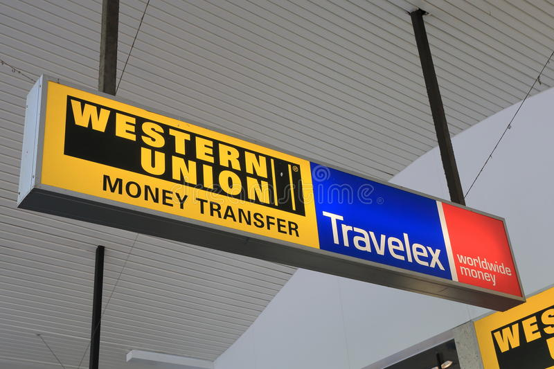 Western Union Travelex currency exchange transfer royalty free stock photography