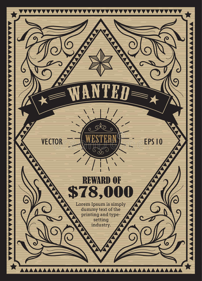 Western Vintage Frame Antique Label Wanted Retro Hand Drawn Stock ...