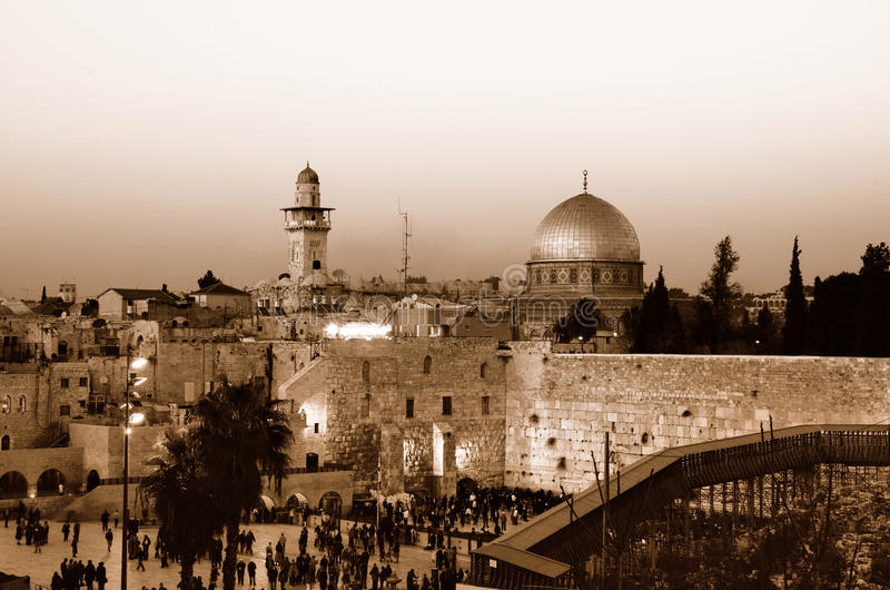 Western Wall and Dome of the Rock. The Western Wall and Dome of the Rock on the Temple Mount in Jerusalem, Israel stock image