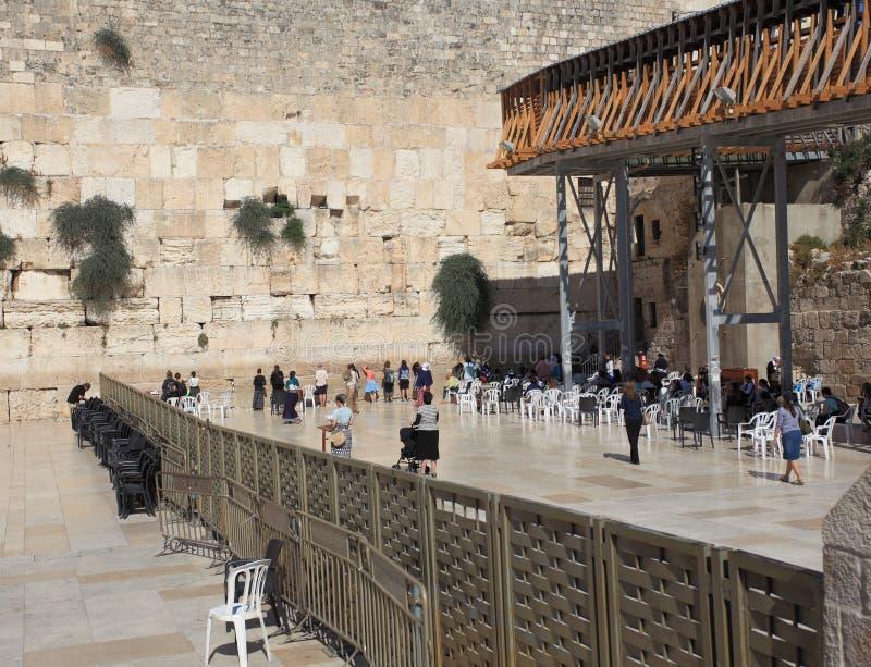 Western Wall, Jerusalem, Women's Section. Frontal view of the women's section of the Western Wall (or Wailing Wall or Kotel) in Jerusalem, Israel. It is stock photo