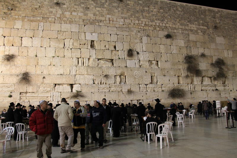 Download Western Wall at night editorial stock image. Image of praying - 22901869