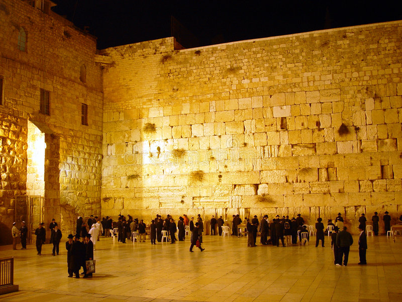 The western wall at night stock images