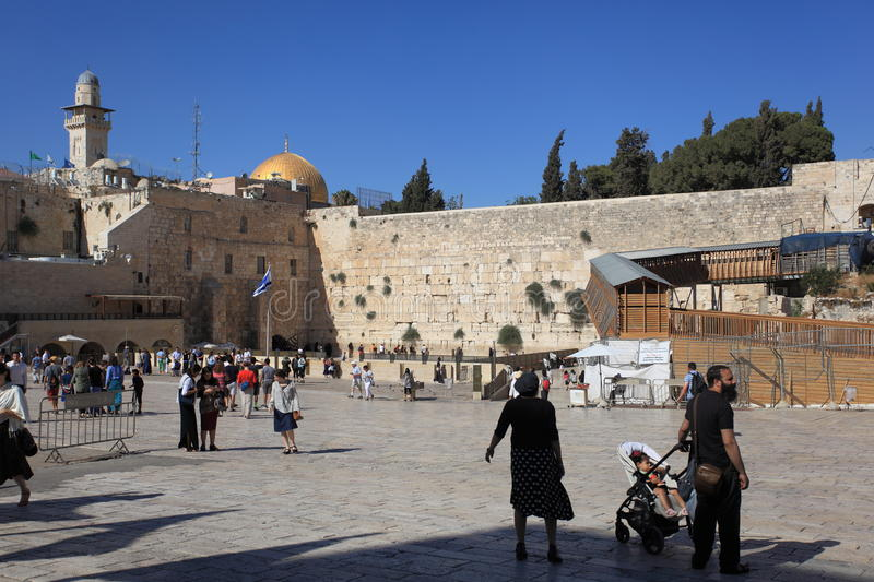 Western Wall Plaza with Families & Tourists. View of the Western Wall (or Wailing Wall or Kotel) Plaza in Jerusalem, Israel. It is an ancient wall in the Old royalty free stock image