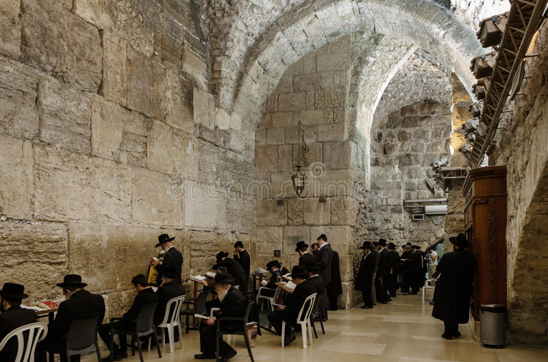 Western Wall. A religious Orthodox Jews pray at the wailing Wall in Jerusalem royalty free stock photography
