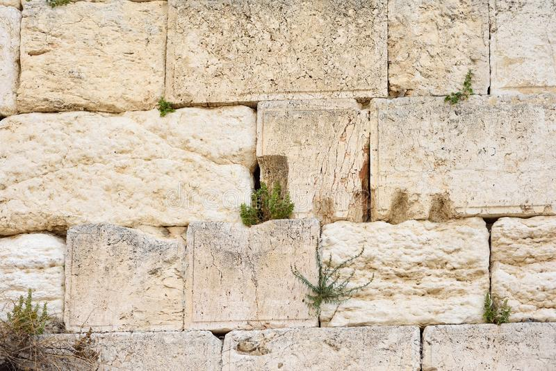 The Western wall or Wailing wall is the holiest place to Judaism in the old city of Jerusalem, Israel. The Western wall or Wailing wall is the holiest place to stock image