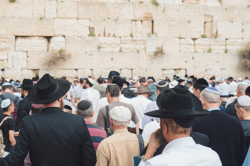 The Western wall or Wailing wall is the holiest place to Judaism. In the old city of Jerusalem, Israel stock photography