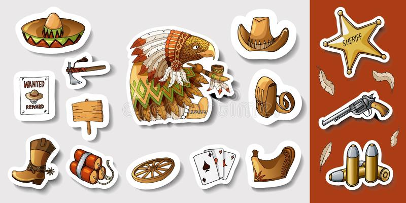 Western wild west art stickers set. Gun, bullets, dynamite and many other items vector illustration