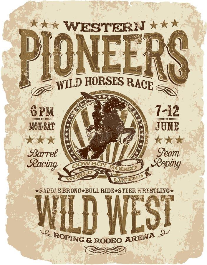 Western zapoczątkowywa rodeo royalty ilustracja