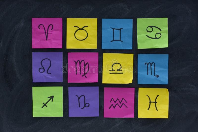 Western zodiac symbols on sticky notes. 12 western zodiac symbols (Aries, Taurus, Gemini, Cancer, Leo, Virgo, Libra, Scorpio, Sagittarius, Capricorn, Aquarius royalty free stock images