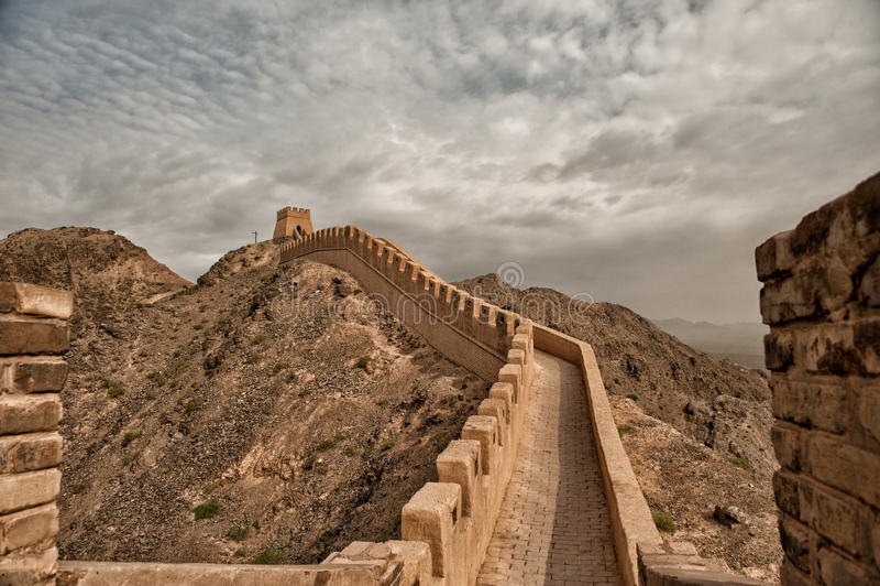 Westernmost часть Великой Китайской Стены стоковые фото