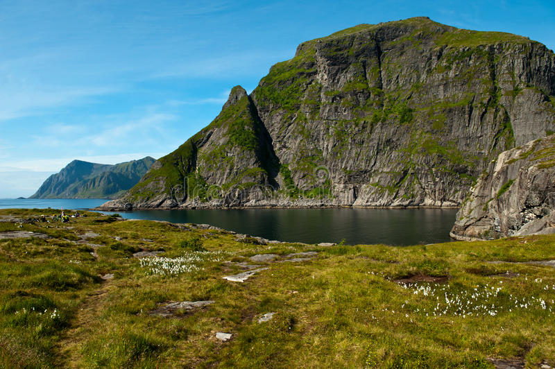 The westernmost camping area in Lofoten stock images