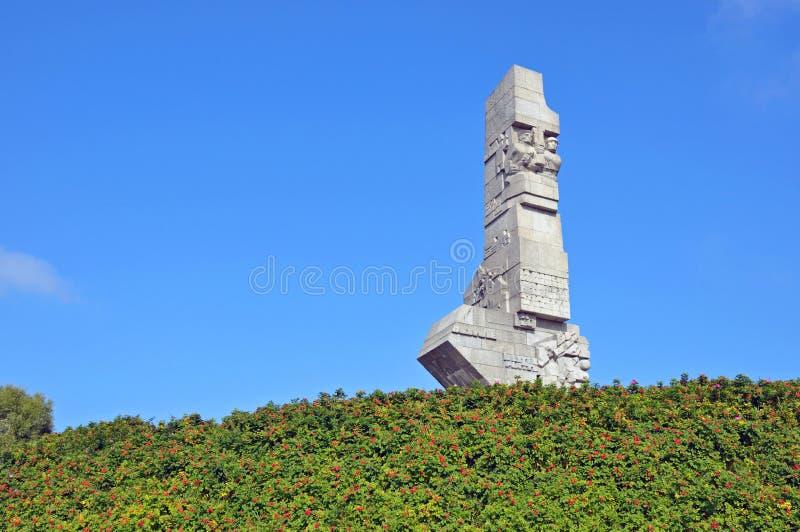 Westerplatte-Monument zum Gedenken an die polnischen Verteidiger herein lizenzfreies stockfoto