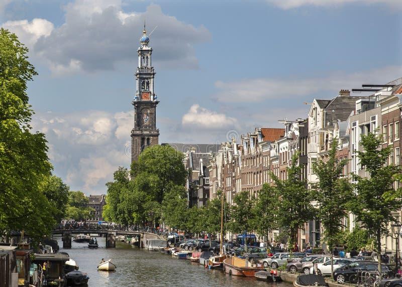Westertorenen, Amtserdam, Nederländerna arkivbilder
