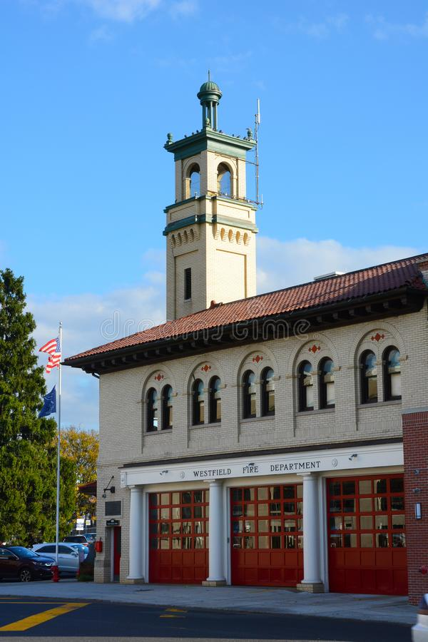 The Westfield Fire Department Headquarters, in the historic downtown area. WESTFIELD, NEW JERSEY - 02 NOV 2019: The Westfield Fire Department Headquarters, in stock photo