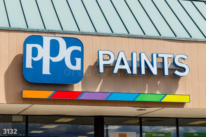 Westfield - Około Lipiec 2018: PPG farb detaliczna lokacja PPG przemysły, są dostawcą farby, narzuty, specjalność materiały Ja fotografia royalty free