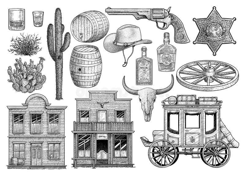 Westgegenstandsammlung, Illustration, Zeichnung, Stich, Tinte, Linie Kunst, Vektor vektor abbildung