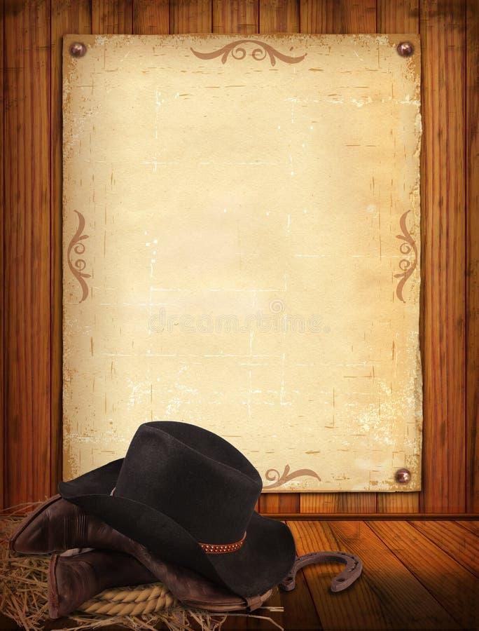 Westhintergrund mit Cowboykleidung und altem Papier für Text lizenzfreie abbildung