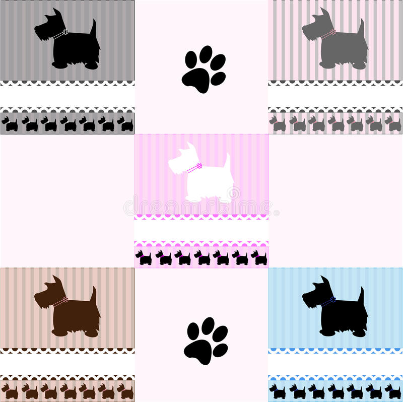 Westie Terrier dog tiles. Set of 5 dogs tiles of West Highland White, Scottish and Cairn terriers and paw print with space for copy, vector royalty free illustration