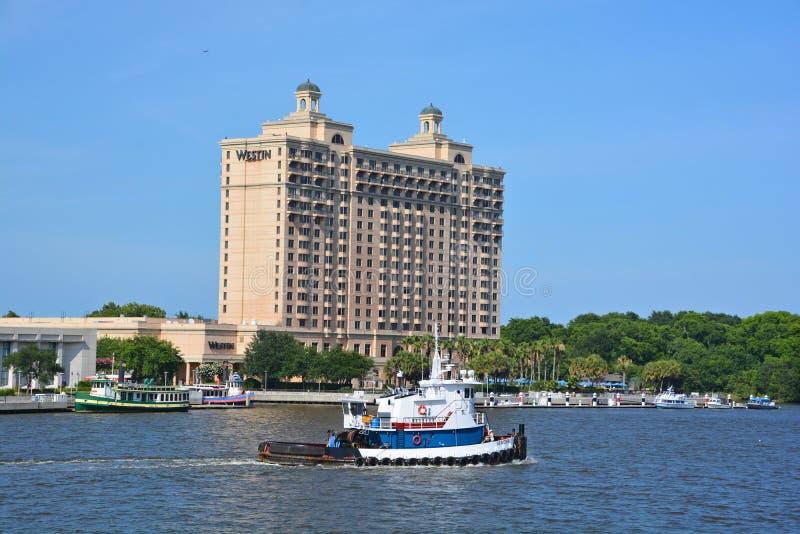 Westin Savannah Harbor Golf Resort & Kuuroord stock afbeeldingen