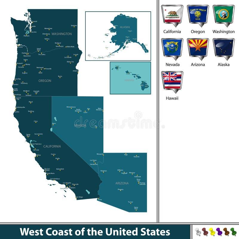 Westküste der Vereinigten Staaten stock abbildung
