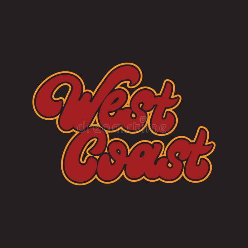 Westkust het Vector met de hand geschreven geïsoleerd van letters voorzien vector illustratie