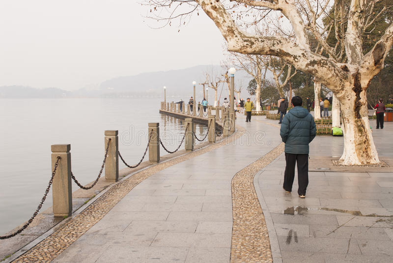 Westlake boardwalk in Hangzhou royalty free stock photography