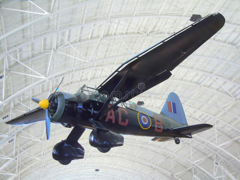 Westland Lysander aircraft in museum. A British WW2 Westland Lysander army cooperation aircraft in the Air & Space Museum in Washington DC in the United States stock photo