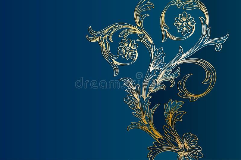 Westliche goldene und hellblaue Blumenhintergrund-Schablone lizenzfreie abbildung