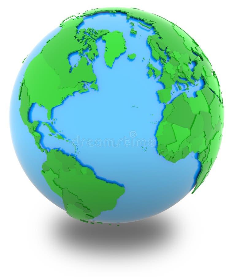 Westliche Hemisphäre auf der Kugel lizenzfreie abbildung
