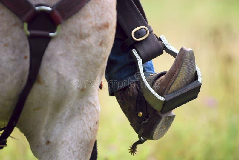 Westlicher Cowboystiefel, Sporn u. Pferd stockfotografie
