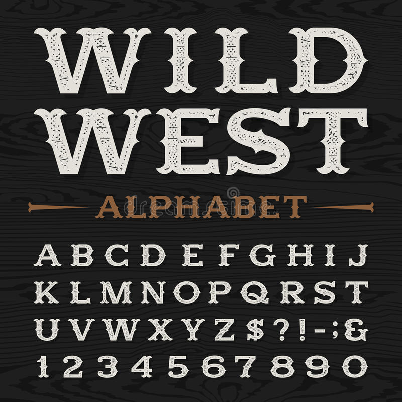 Westlicher Retro- schmutziger Alphabetvektorguß lizenzfreie abbildung
