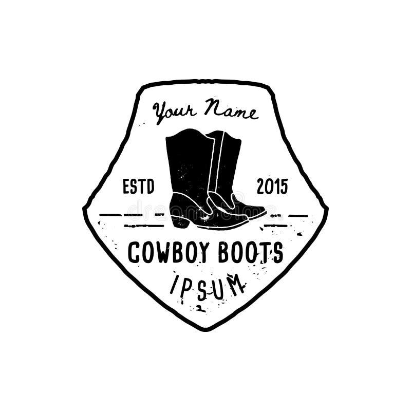 WestlogoCowboystiefel ?bergeben Schmutzart des abgehobenen Betrages Wildes Westsymbol singen von den Cowboystiefeln und von der R lizenzfreie abbildung