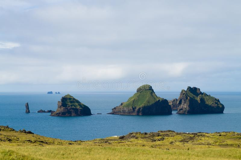 Westman Islands beach day view, Iceland landscape.Smaeyjar islands stock images