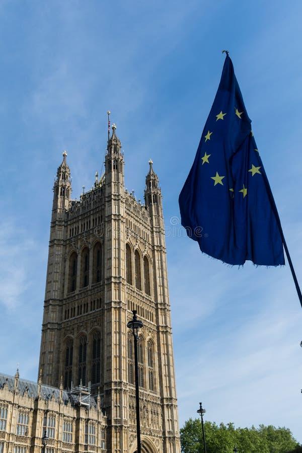 Westminister i UE flaga fotografia royalty free
